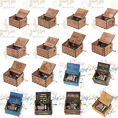 Retro Engraved Wooden Music Box Antique Carved Crafts Toys Kids Birthday Gifts