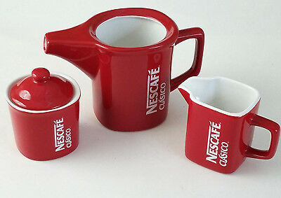 Nescafe Clasico Coffee Teapot Sugar Bowl and Creamer Pitcher Red 3 Pieces Set