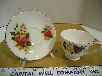 Queen Anne Bone China Floral Tea Cup #8630 with Duchess Saucer, Mismatch Set EUC