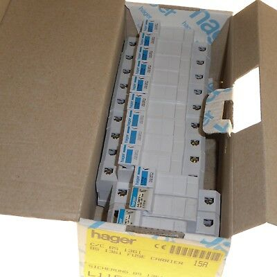 12x Consumer unit fuse carrier cartridge with (10x 15 Amp, 2x 5 Amp fuses) HAGER