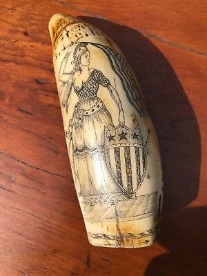 Scrimshaw Replica Resin Whale Tooth Libery Patriotic Ship A.T. Moger Nautical