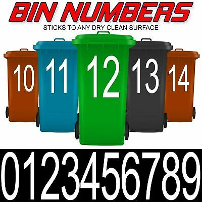 Wheelie Bin Numbers House Number Stickers Large Outdoor Custom Plain Sticky