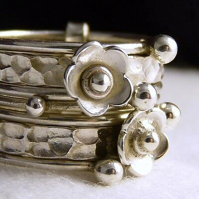 DAISY 7-STACK Nest Size US 5.75 SilverSari Solid 925 Sterling Silver STR1007