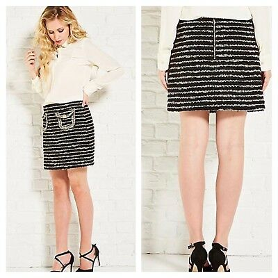 Darling London Size 10 Black Metallic Boucle Mini SKIRT £65 Xmas Party Evening