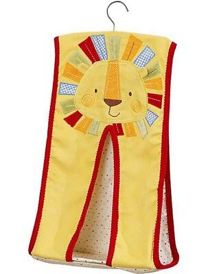 Nursery Baby Nappy Stacker Jungle Lion Embroidered Appliqué Face Yellow Red Blue