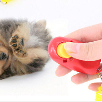 Pet Dog Cat Puppy Button Training Clicker Obedience Trainer Click Wrist Key Ring