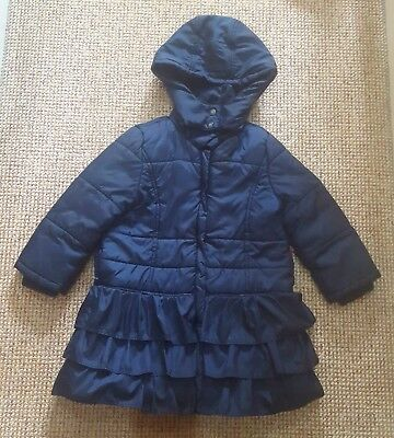 Monsoon Girls Blue Padded Quilted Coat Age 9-10