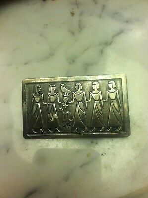 Estate 1920's Egyptian Revival Sterling Silver Brooch Pin