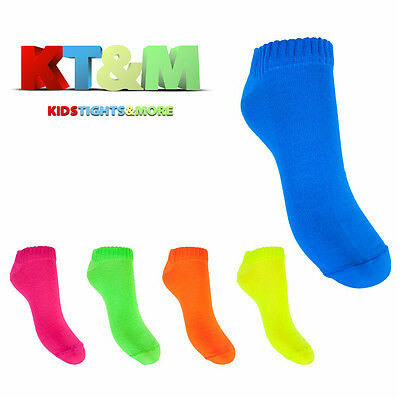 Children Kids Girls Teens Women Ladies Neon Cotton Blend Bright Trainer Socks