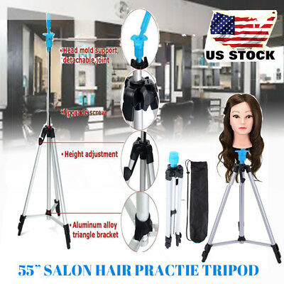 """55"""" Mannequin Head Tripod Hairdressing Training Head Holder Hair Wig Stand Tool"""
