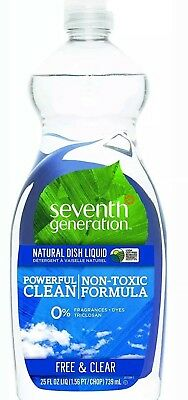 Seventh Generation Natural Dish Liquid, Free - Clear 25 oz (Pack of 2)