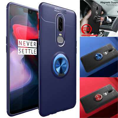 Ultra Shockproof Hybrid Bumper Case for One Plus 6 6T Magnetic Ring Holder Cover