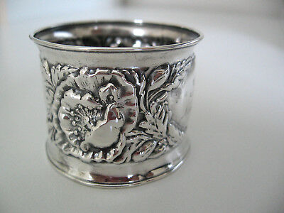 Wonderful art nouveau repousse Sterling silver napkin ring engraved IDA