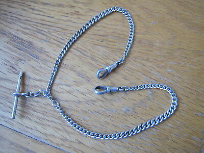 Antique Hallmarked Solid Silver Double Graduated Albertina Watch Chain - 1913