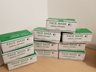 Set of 500 (10boxes) of Disposable Surgical Face Mask Ear Loop