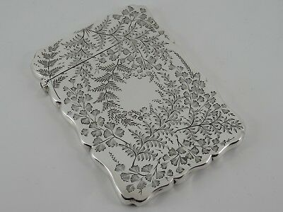 George Unite Solid Sterling Silver Aesthetic Visiting Card Case Birmingham 1888