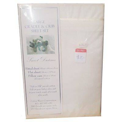 NEW Sweet Dreams Large Cradle Fitted Sheet Set from Baby Barn Discounts
