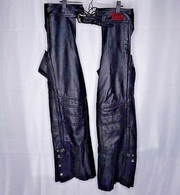Harley-Davidson Womens Black Leather Chaps Size Large Petite Zip RN103819