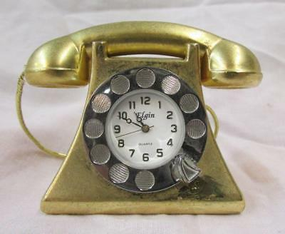Mini Collectible Elgin Telephone Phone Desk Clock Paperweight ~SS2