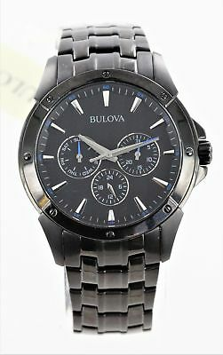 Bulova 98C121 Men's Dress Marine Star Chronograph Black Steel Watch Pre-Owned