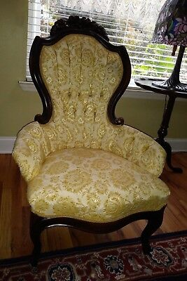 Estate Find Antique Victorian Rose Carved Lounge Fireside Chair