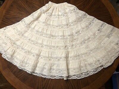 Vintage Square Up Fashions Womens Ivory Lace Dancing Skirt Square Dance Size L