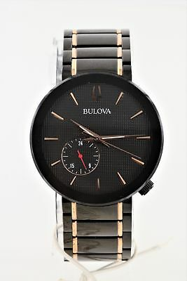 Pre-Owned Bulova Latin Grammy Edition Black Dial Two-Tone Mens Watch 98A188