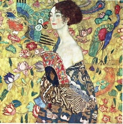 Lady with a Fan Gustav Klimt 1917 Poster Canvas Picture Art Print Premium A0- A4