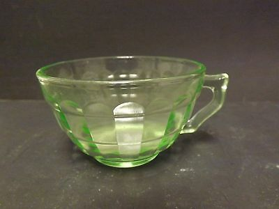 Green Vaseline Depression Glass Vertical Panel Beveled Pattern Cup