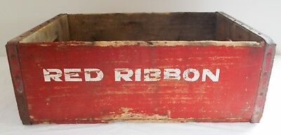 Vintage Red Ribbon Soda Pop Beverages Advertising Crate Box