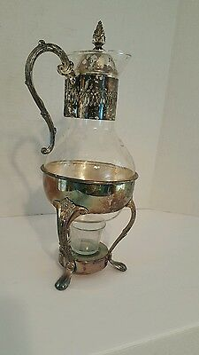 "Vintage Silver Plated Carafe Coffee Tea Pitcher/ Base for Candle.14""H × 3  1/2."