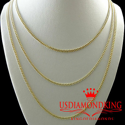 """New Mens Womens 100% 10k Yellow Gold 1.5mm Cuban Curb Link Necklace Chain 18-20"""""""