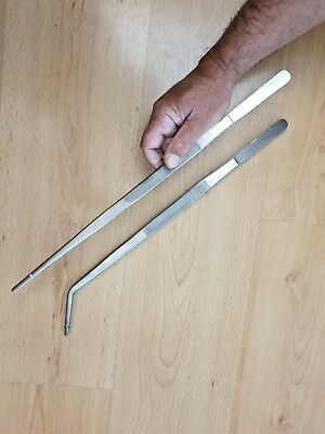 """Aquarium Tweezers  Extra Long Reach 18"""" ** 2 Pairs ** Straight And Curved Tip"""