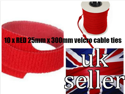 GENUINE VELCRO ONE-WRAP RE-USABLE STRAPPING CABLE TIES 10 x 25mm x 300mm RED