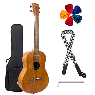 Baritone Ukulele 30 inch Guitar DGBE Mahogany with Strap Picks Bag