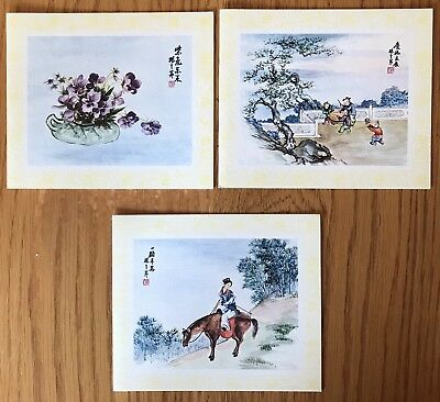 Vintage (3) Lithos Cards by Artist Ling-Fu Yang Peking, China