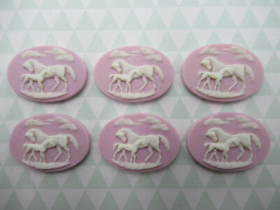 Brown Horses on Cream Cameos 25X18mm Resin Cabochons Cowboy Riding Western Qty 6