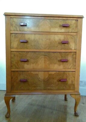 Superb Vintage Art Deco Walnut Chest of Drawers