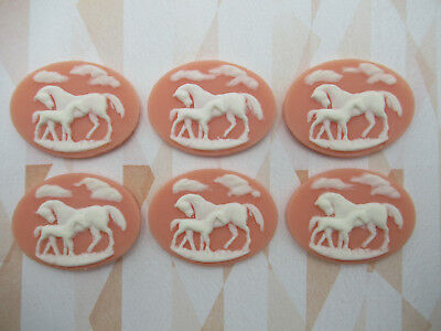 White Horses on Lilac Cameos 25X18mm Resin Cabochons Mother /& Baby Western Qty 6