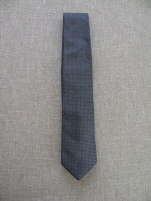 "Hugo Boss Black Label- Men Geometric Black-Gray- Silk Tie - L 58""  W 3.5""- Italy"