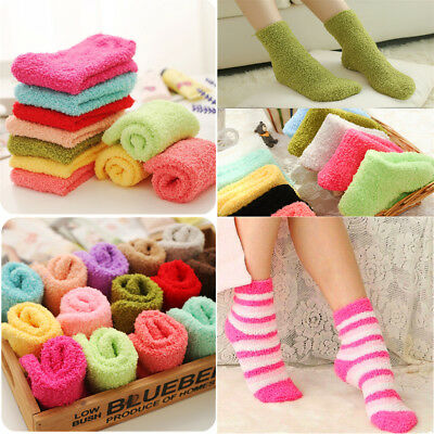 3-10 Pairs For Womens Soft Winter Non-Skid Cozy Fuzzy Slipper Socks Size 9-11