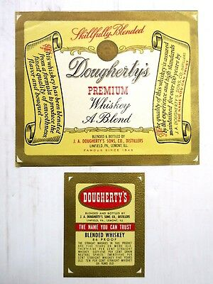 Vintage Dougherty's Premium Whiskey Bottle Labels Unused