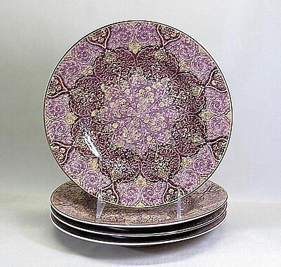 222 Fifth .. Fine China .. Set Of 4 .. Eva Aubergine Opulent .. Salad Plates