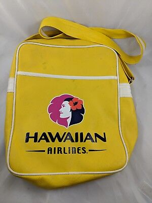 Hawaiian Airlines Carry-On Luggage Shoulder Strap Yellow Vintage