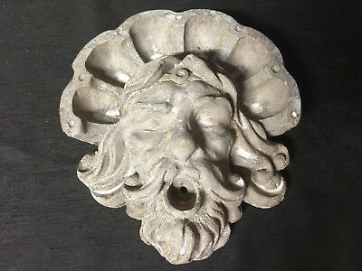 Vintage Medium Sized WEATHERED Concrete Garden Wall Hanging North Wind Face Mask