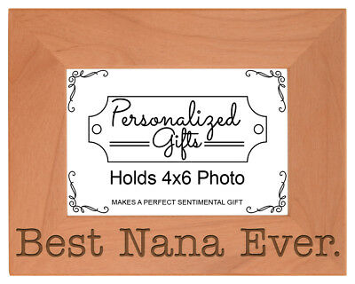 Birthday Gift Grandma Best Nana Ever Engraved Natural Wood Frame