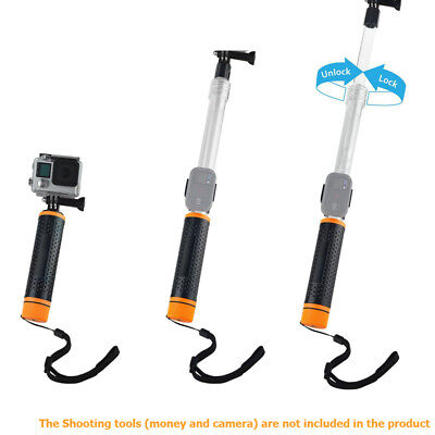 6.7-15.7'' Waterproof Selfie Stick for GoPro Extendable Transparent Floaty Pole