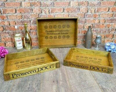 Vintage- Set Of 3 Wooden Prosecco Trays