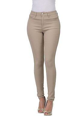 High Waisted-Rise Ladies Colored Denim Stretch Skinny Jeans GREY OLIVE MUSTARD
