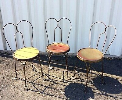 Vintage Ice Cream Parlor Wrought Iron Wire Chairs ~ Set of 3